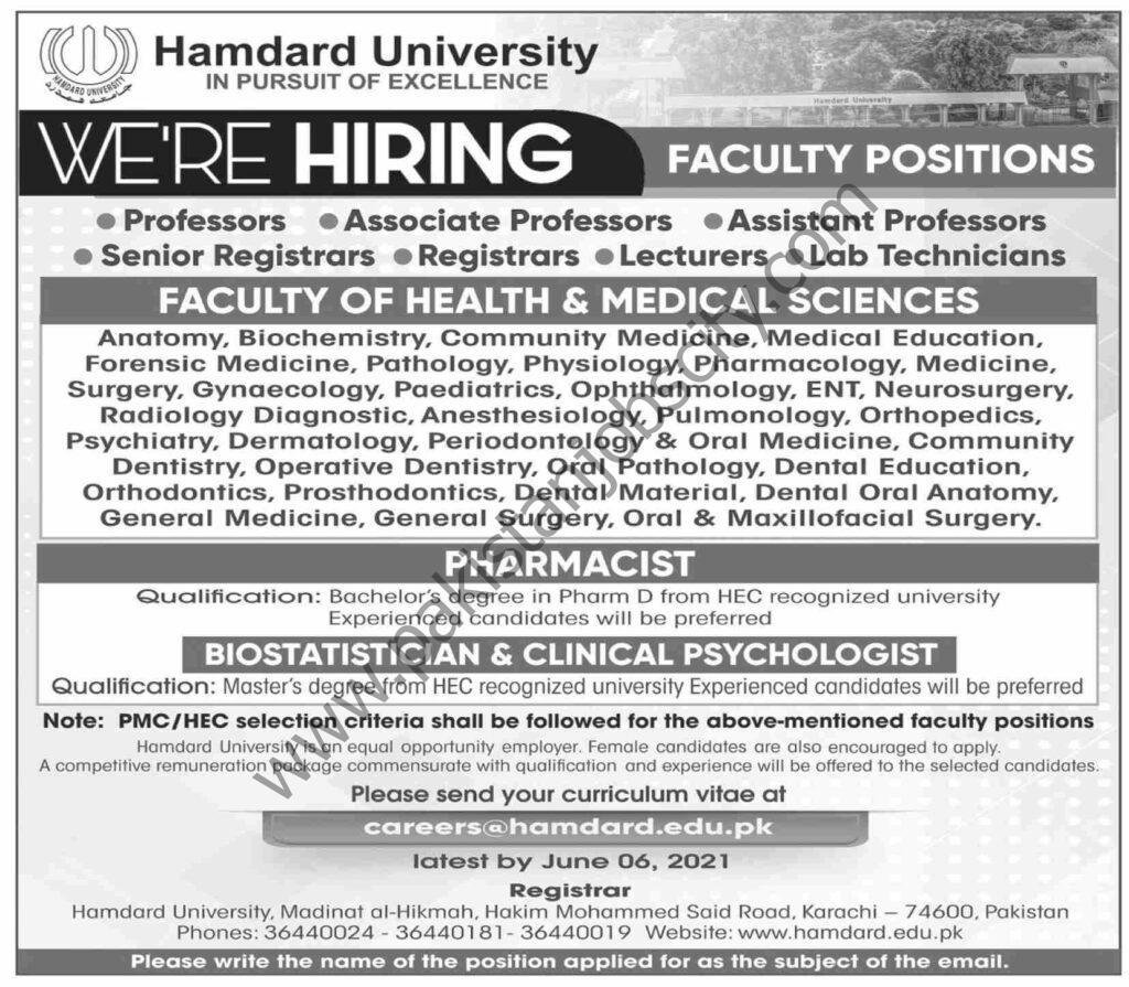 Hamdard University Jobs June 2021
