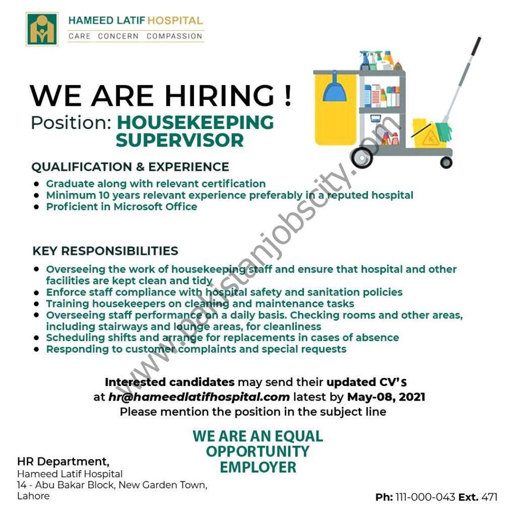 Hameed Latif Hospital Jobs Housekeeping Supervisor