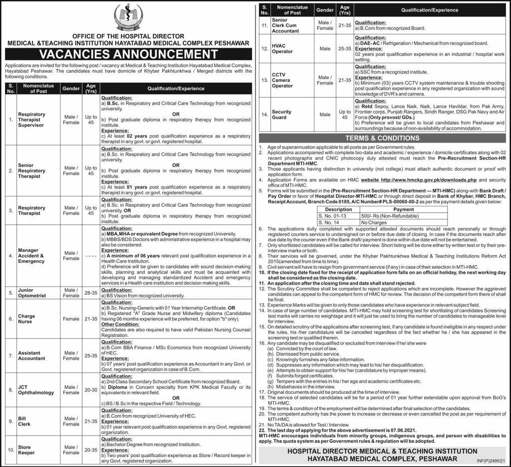 Hayatabad Medical Complex Peshawar Latest Jobs 2021