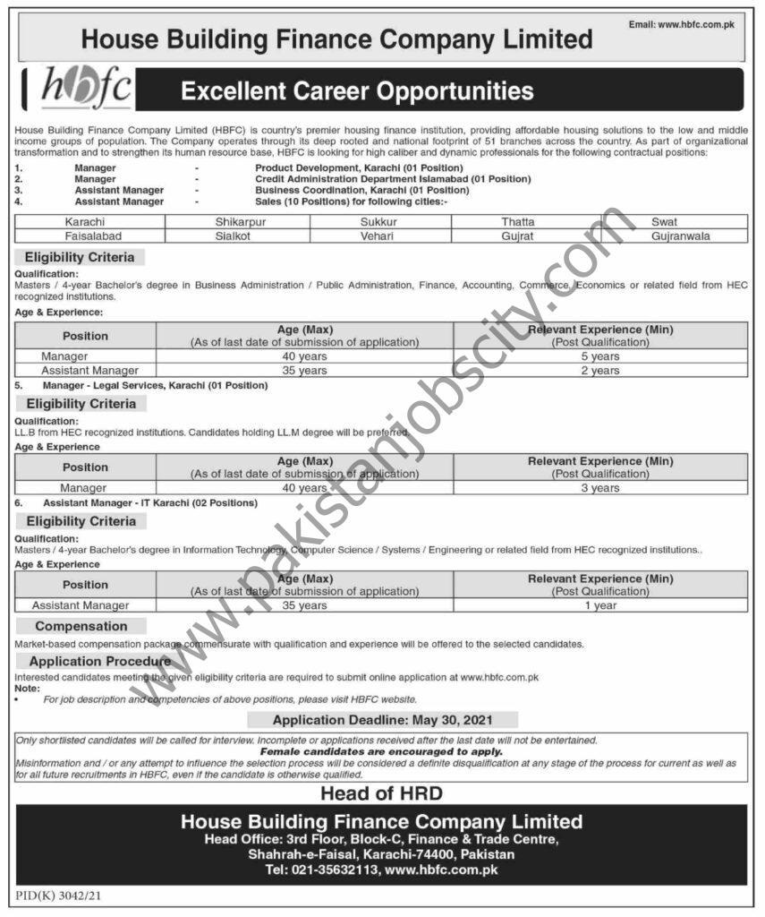 House Building Finance Company Ltd HBFC Jobs May 2021