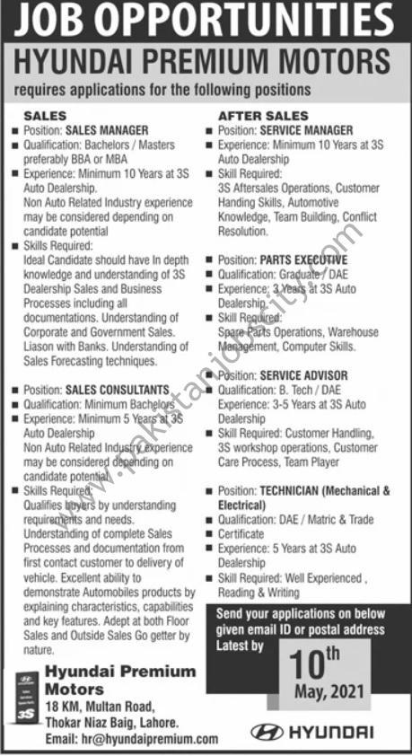 Hyundai Premium Motors Jobs May 2021