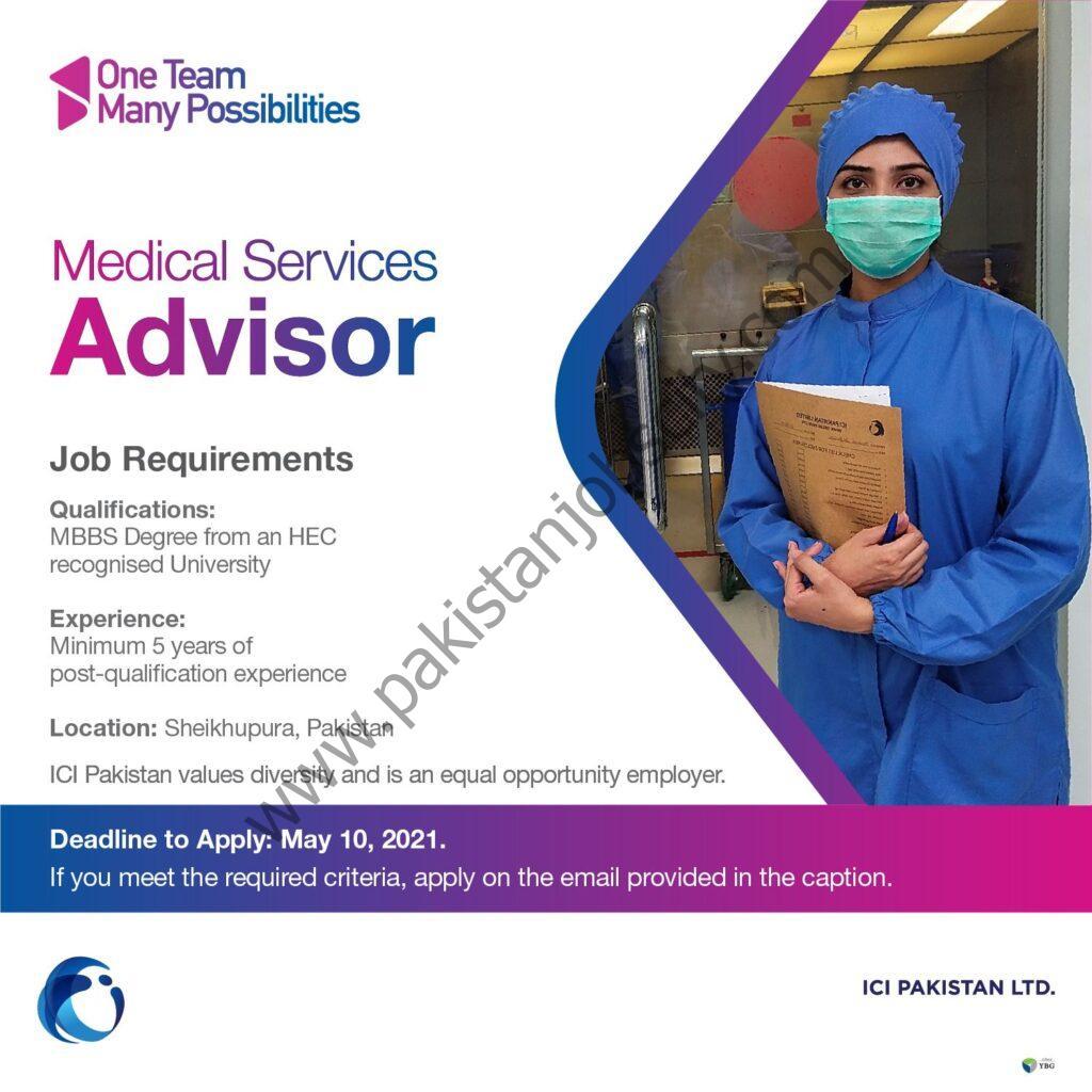ICI Pakistan Limited Jobs Medical Services Advisor