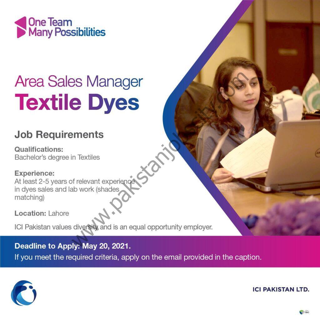 ICI Pakistan Ltd Jobs Area Sales Manager Dyes
