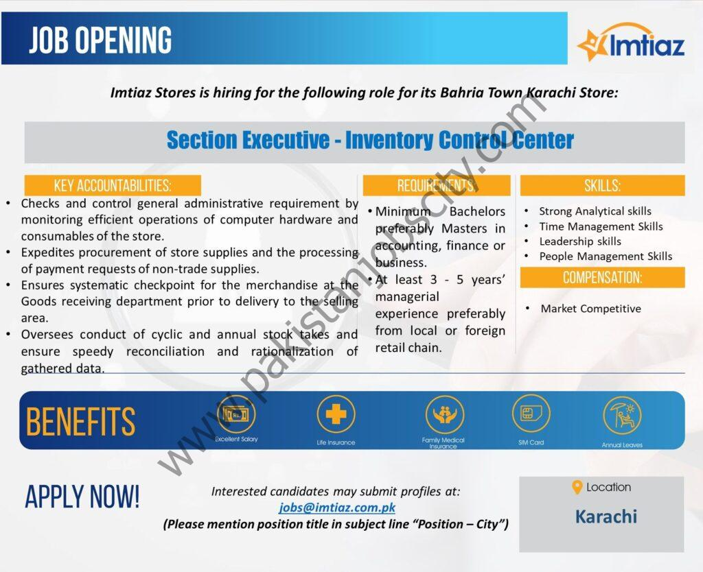Imtiaz Stores Jobs Section Executive Inventory Control Center