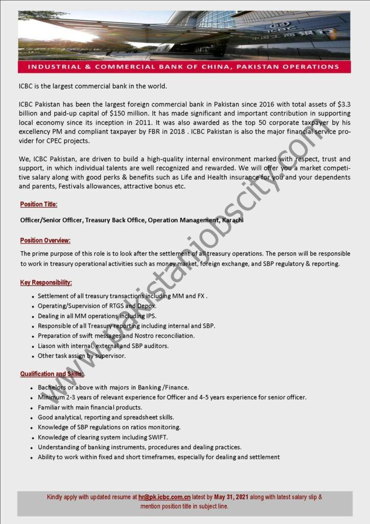 Industrial & Commercial Bank of China ICBC Jobs Officer/Senior Officers Treasury Back Office Operation Management