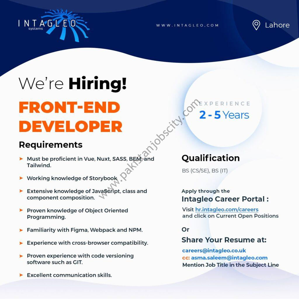 Intagleo Systems Jobs Front End Developer