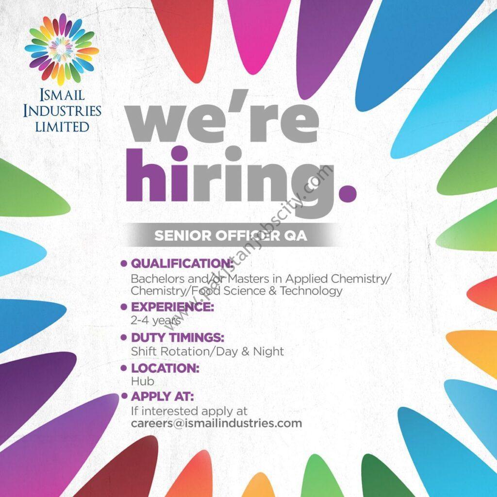 Ismail Industries Limited Jobs Senior Officer QA