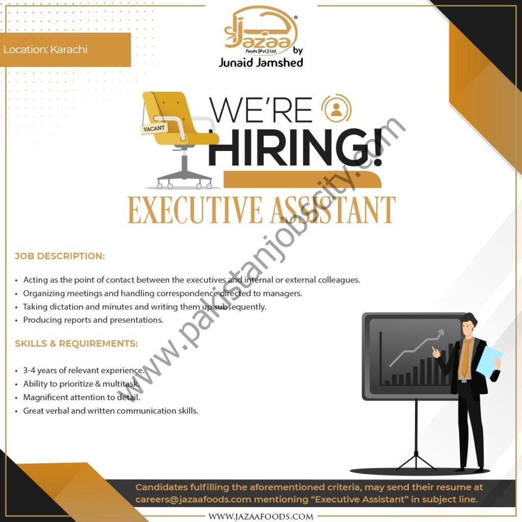 Jazaa Foods Pvt Ltd Jobs Executive Assistant