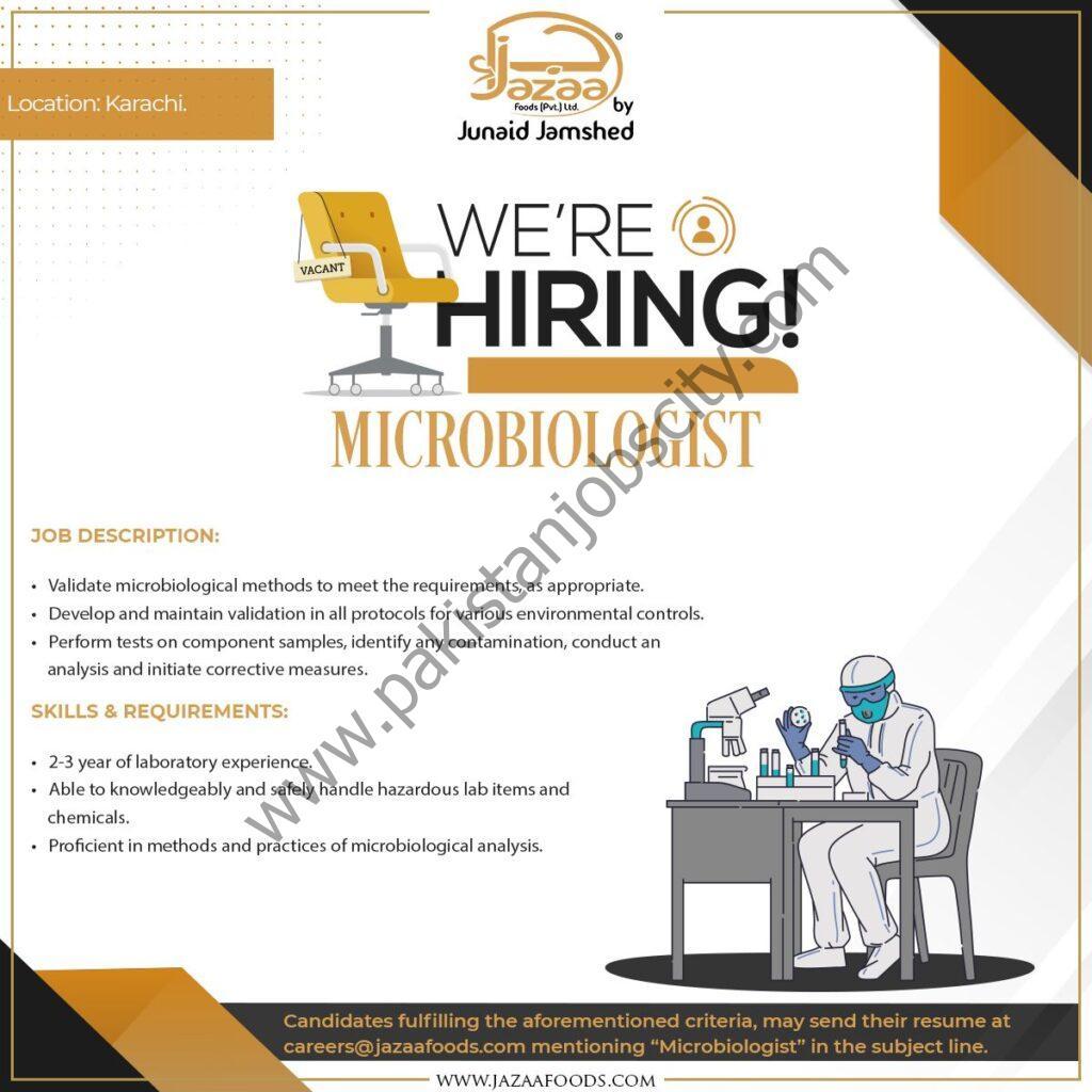 Jazaa Foods Pvt Ltd Jobs Microbiologist