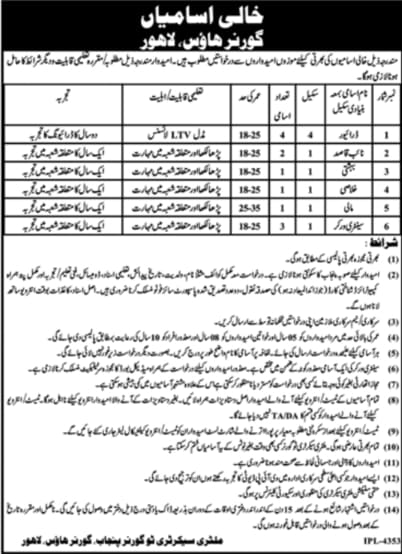 Jobs in Governor Punjab House Lahore 2021