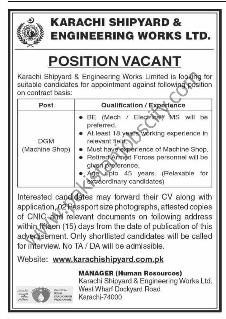 Karachi Shipyard And Engineering Works Ltd Jobs DGM