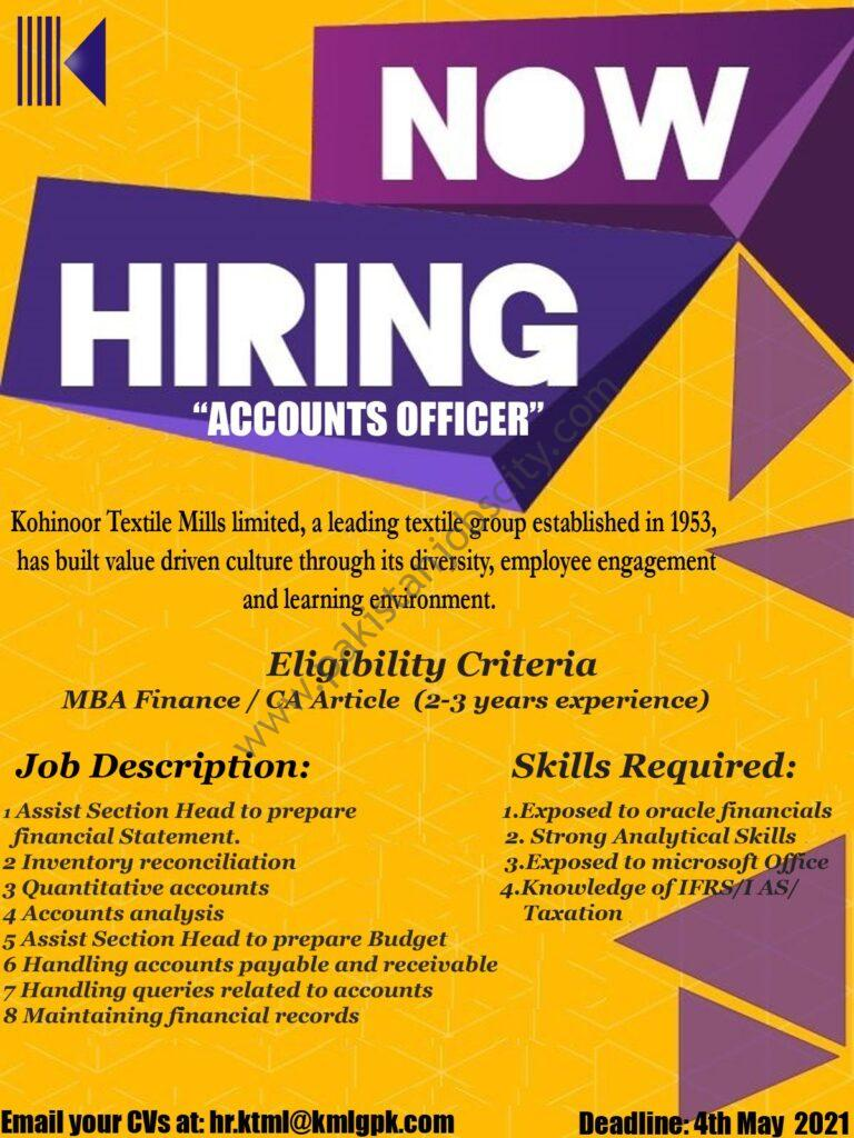 Kohinoor Textile Mills Limited Jobs Accounts Officer