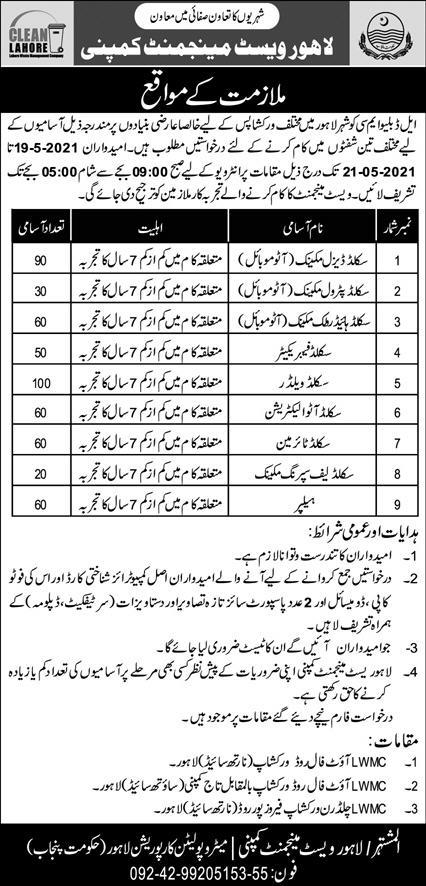 Jobs of Lahore Waste Management Company LWMC May 2021