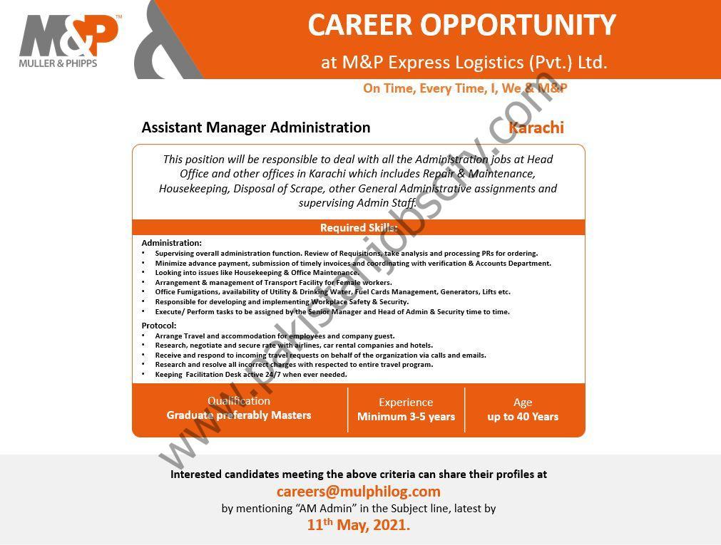 M&P Express Logistics Pvt Ltd Jobs Assistant Manager Administration