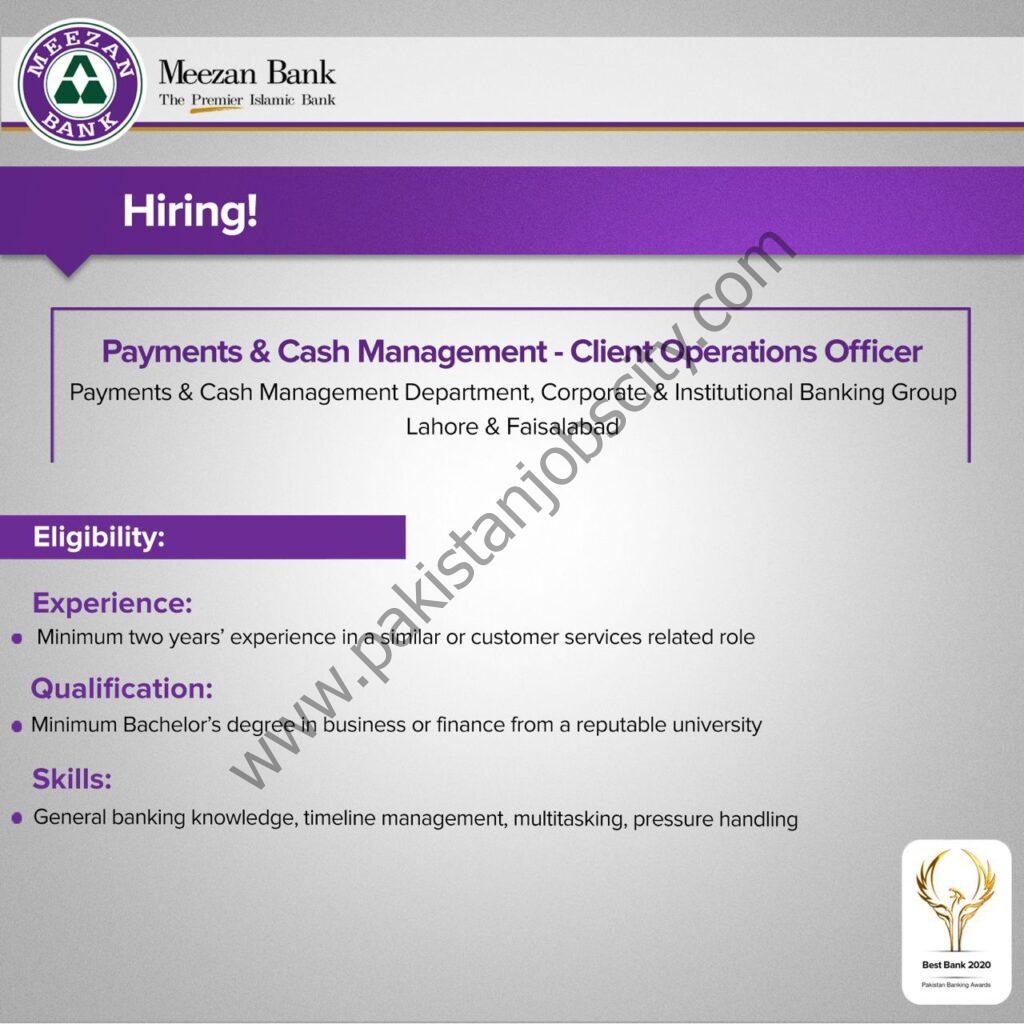 Meezan Bank Ltd Jobs May 2021