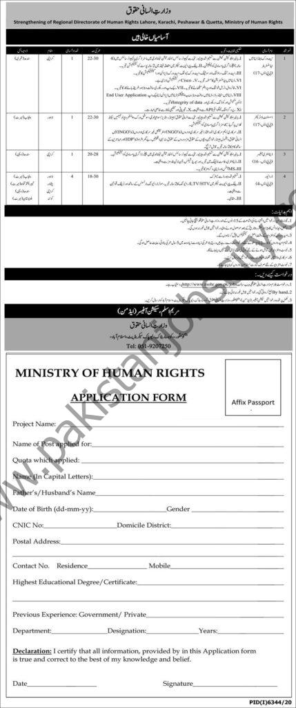 Ministry Of Human Rights Govt Of Pakistan Jobs May 2021