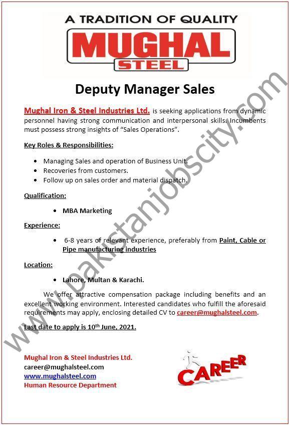 Mughal Steel Jobs Deputy Manager Sales