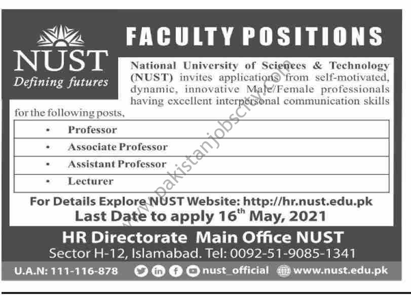 National University of Sciences & Technology NUST Jobs May 2021