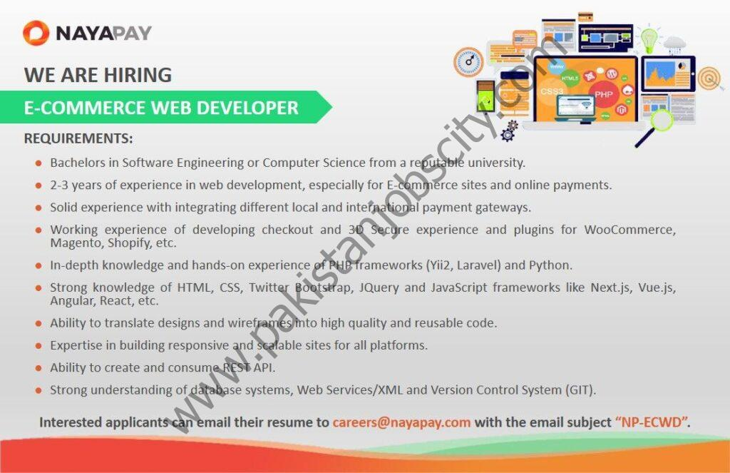 NayaPay Jobs E-Commerce Web Developer