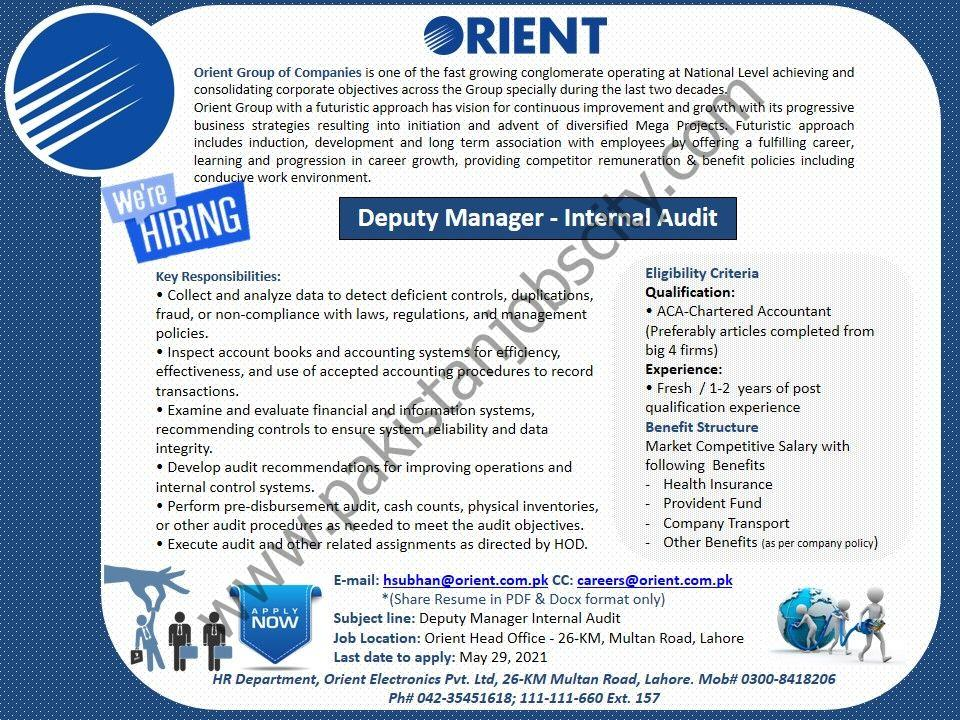 Orient Group of Companies Jobs Deputy Manager Internal Audit