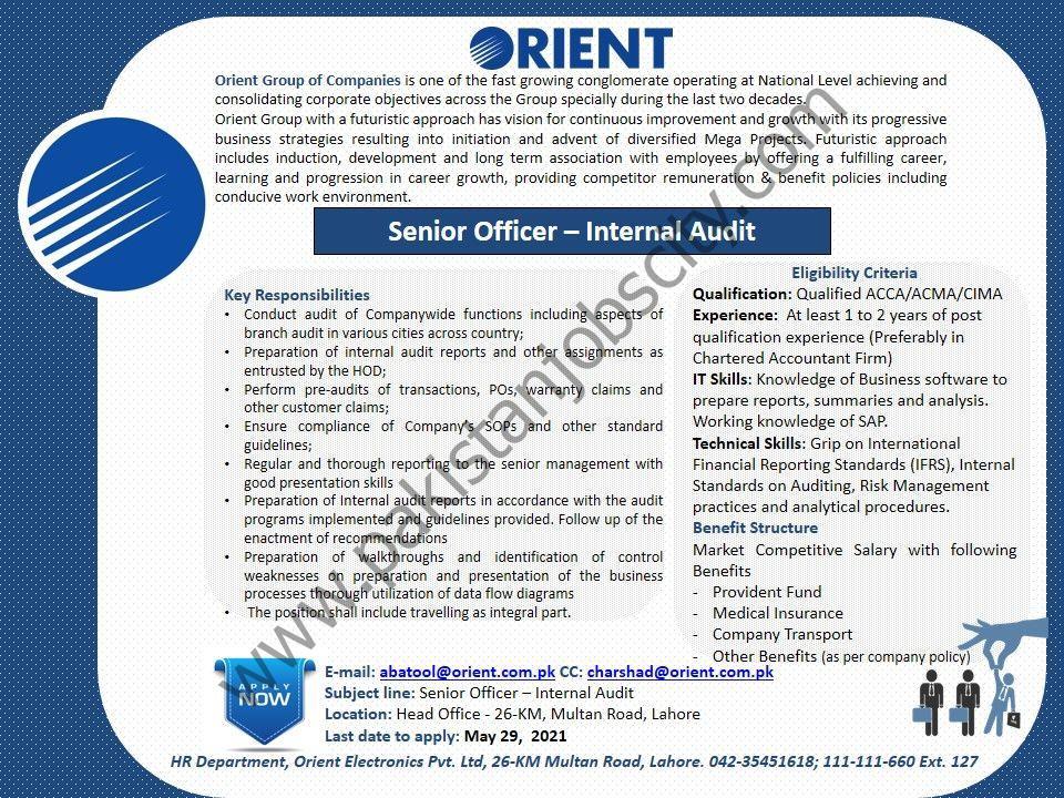 Orient Group of Companies Jobs Senior Officer Internal Audit
