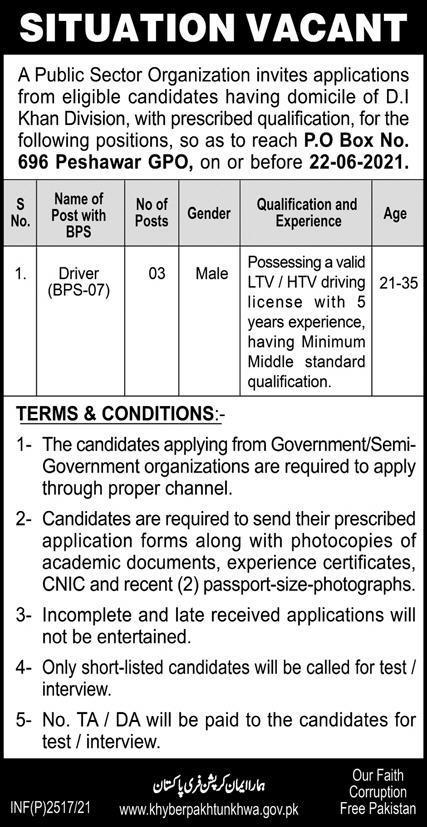 Public Sector Organization PO Box 696 Peshawar Jobs 2021