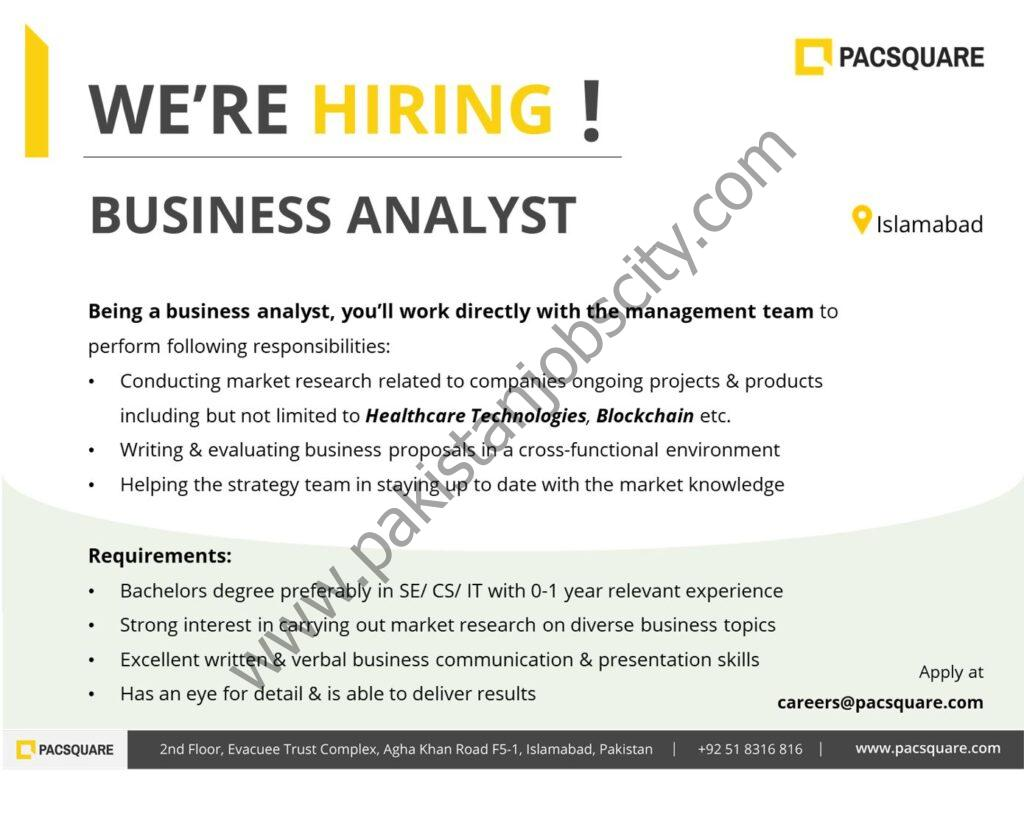 Pacsquare Technologies Jobs Business Analyst