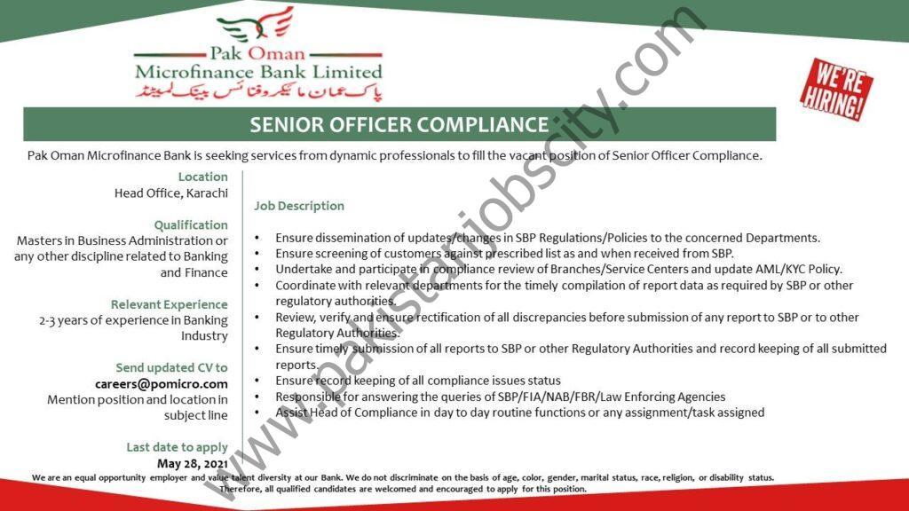 Pak Oman Microfinance Bank Jobs Senior Officer Compliance