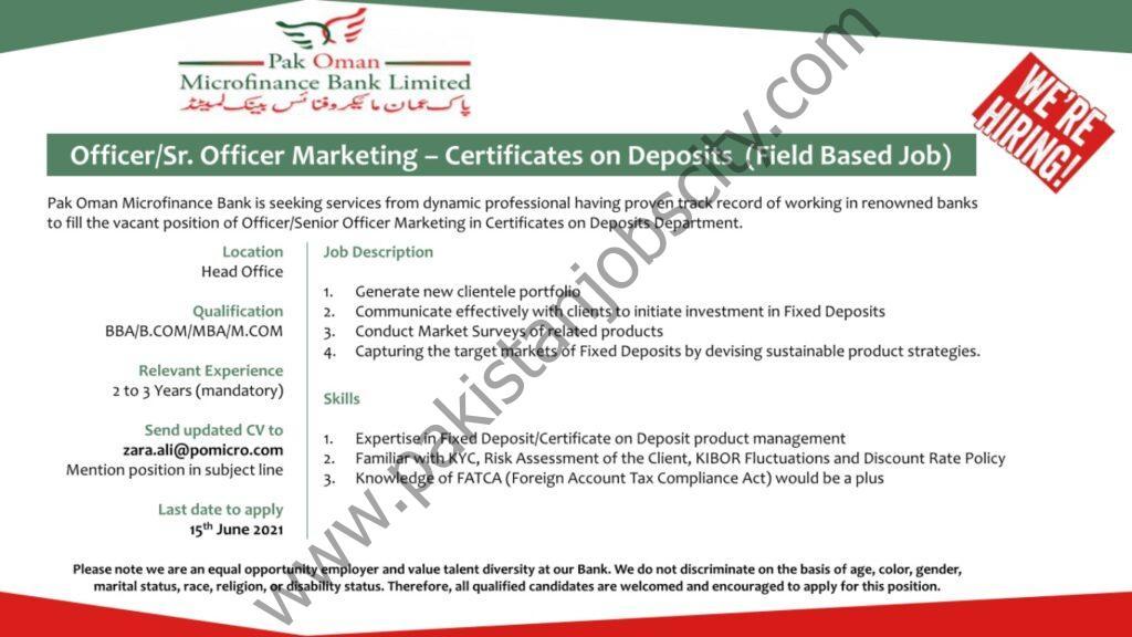 Pak Oman Microfinance Bank Jobs Officer/Senior Officer Marketing