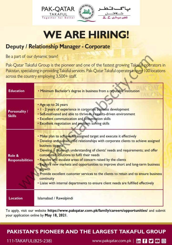 Pak Qatar Takaful Group Jobs Deputy / Relationship Manager Corporate