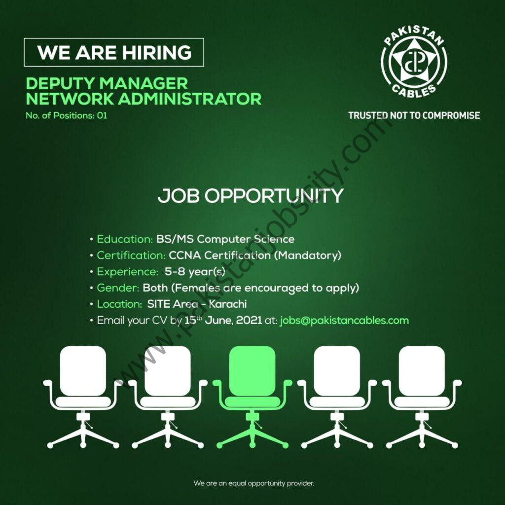 Pakistan Cables Limited Jobs Deputy Manager of Network Administrator