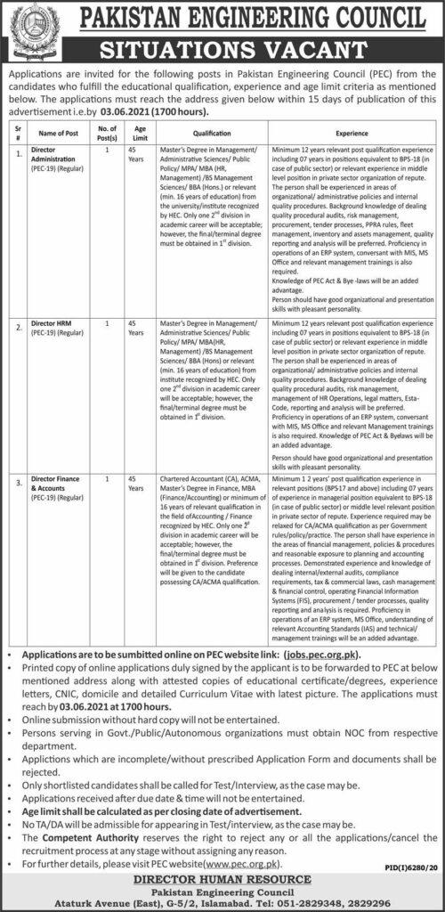Pakistan Engineering Council PEC Jobs May 2021