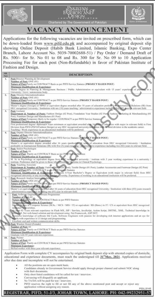 Pakistan Institute of Fashion & Design PIFD Jobs May 2021