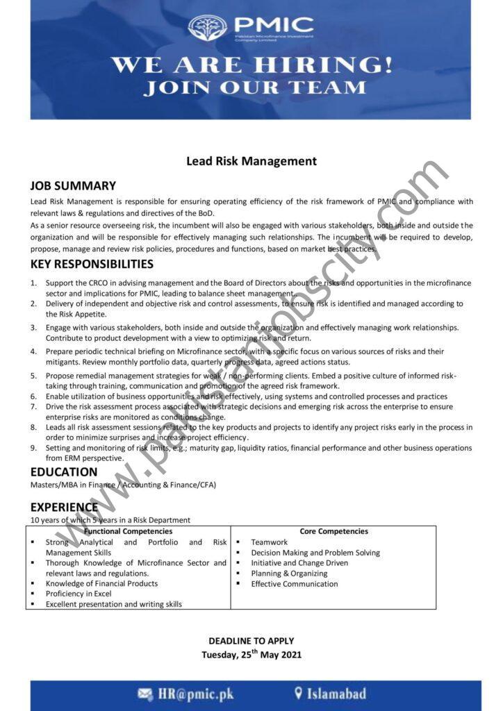 Pakistan Microfinance Investment Company PMIC Jobs May 2021