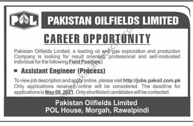 Pakistan Oilfields Ltd POL Jobs Assistant Engineer Process