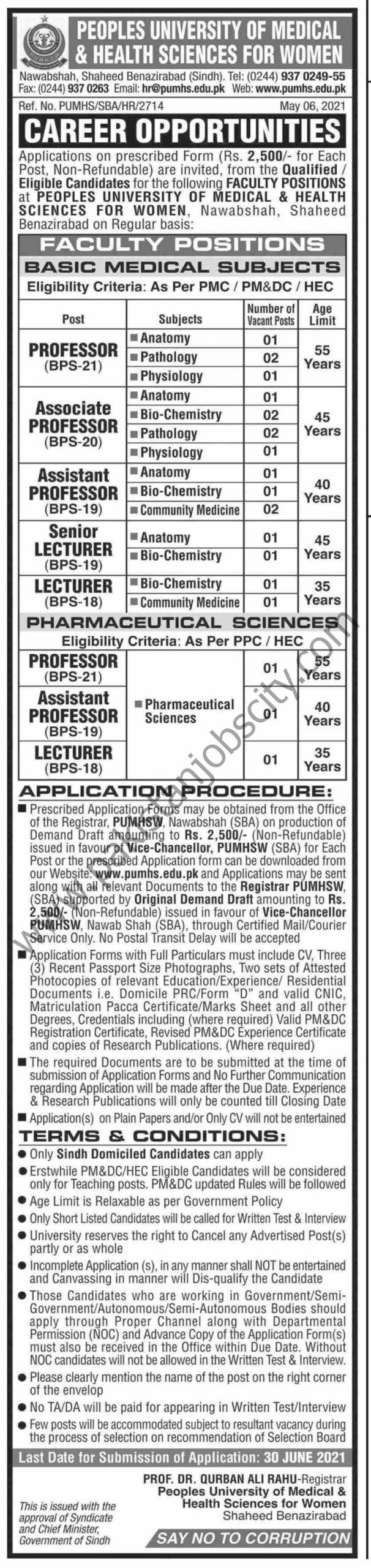 Peoples University of Medical & Health Sciences for Women Jobs May 2021