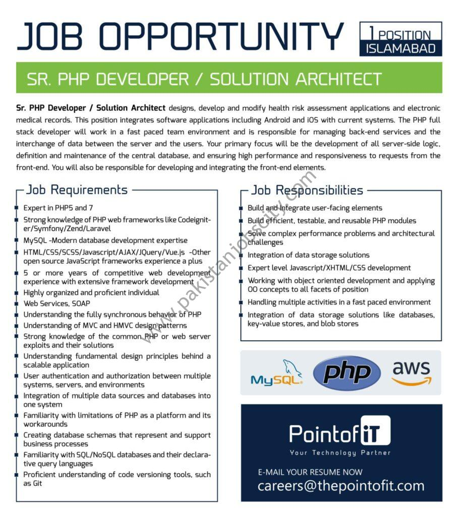 Point of IT Jobs Senior PHP Developer / Solution Architect