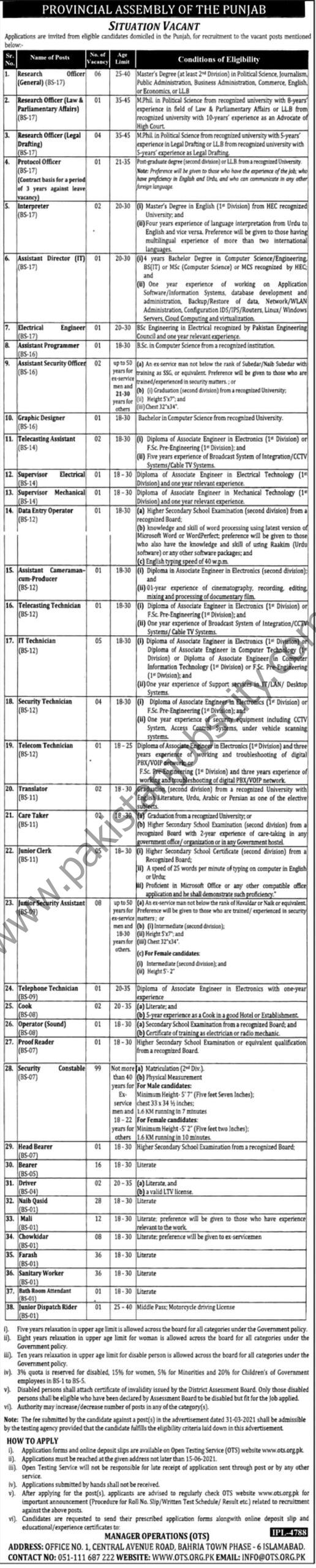 Provincial Assembly of the Punjab Jobs June 2021