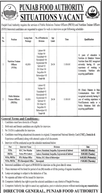 Punjab Food Authority Jobs May 2021 - Walk In Interview