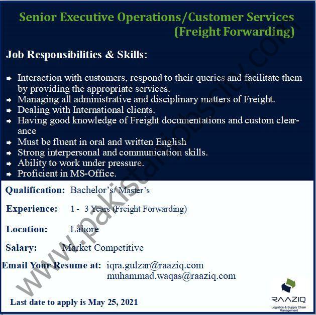 Raaziq International Pvt Ltd Jobs Senior Executive Operations/Customer Services