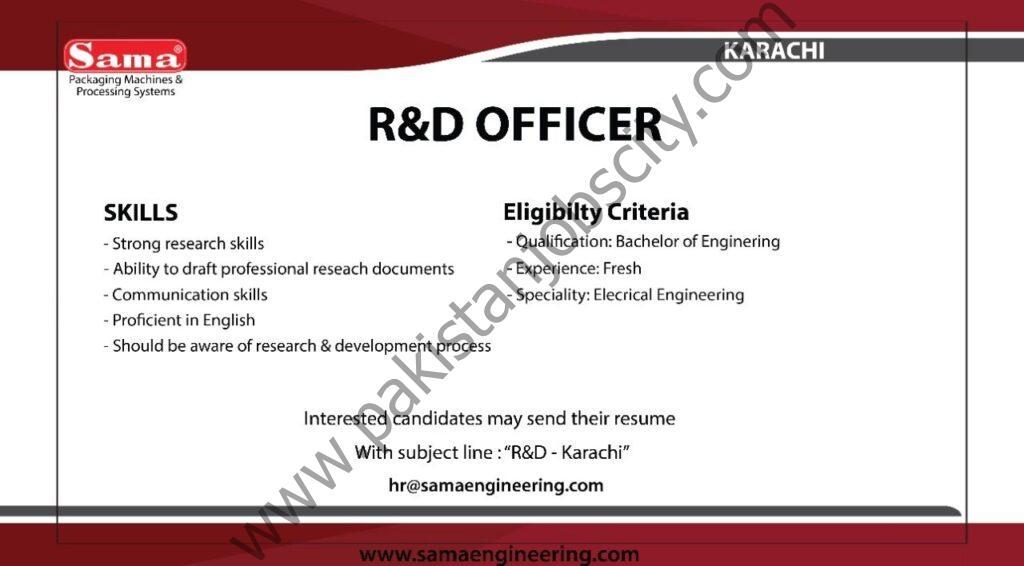 SAMA Engineering Jobs R&D Officer