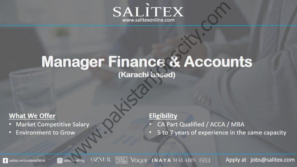 Salitex Pakistan Jobs Manager Finance & Accounts