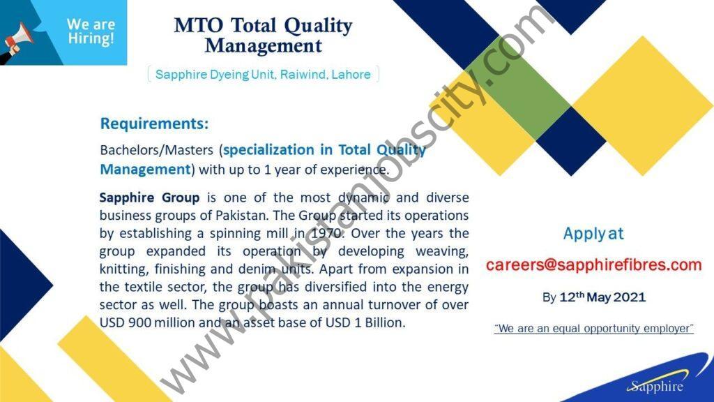 Sapphire Fibres Ltd Jobs MTO Total Quality Management