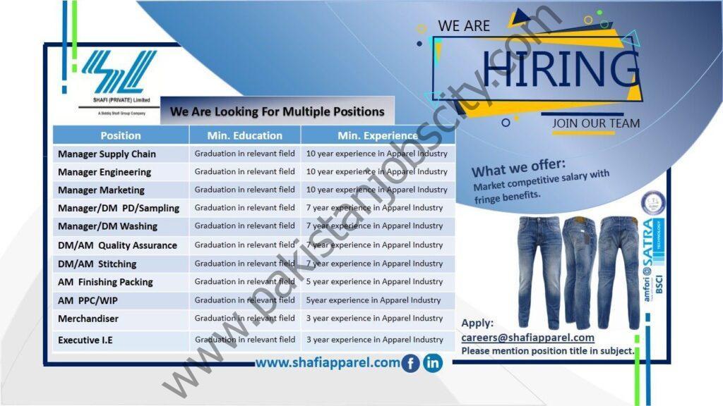 Shafi Private Ltd Jobs May 2021