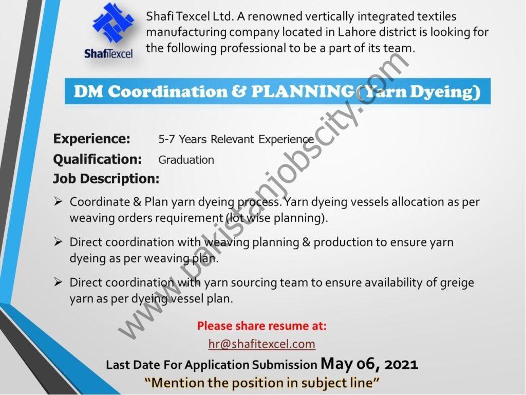 Shafi Texcel Ltd Jobs DM Coordination & Planning