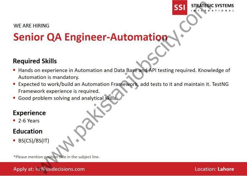 Strategic Systems International SSI Jobs Senior QA Engineer Automation
