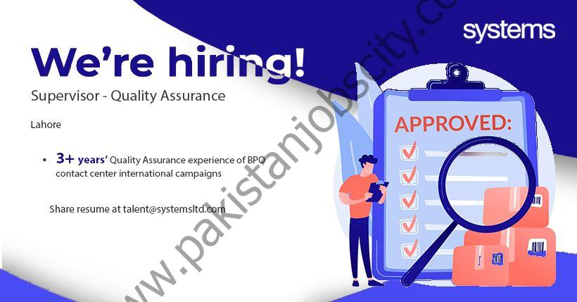 Systems Limited Jobs Supervisor Quality Assurance