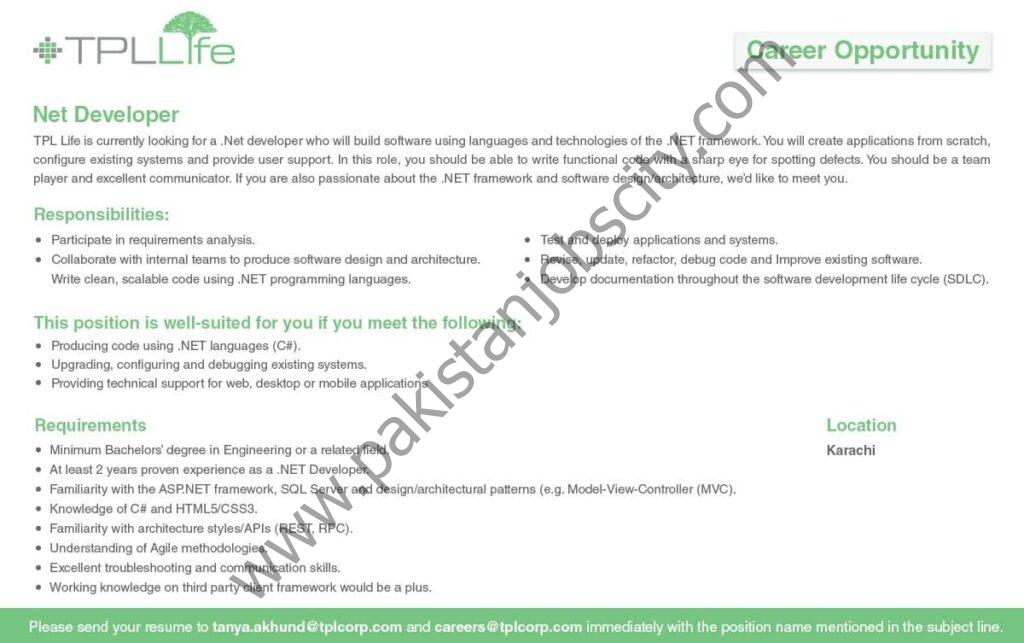 TPL Life Insurance Ltd Jobs Net Developer
