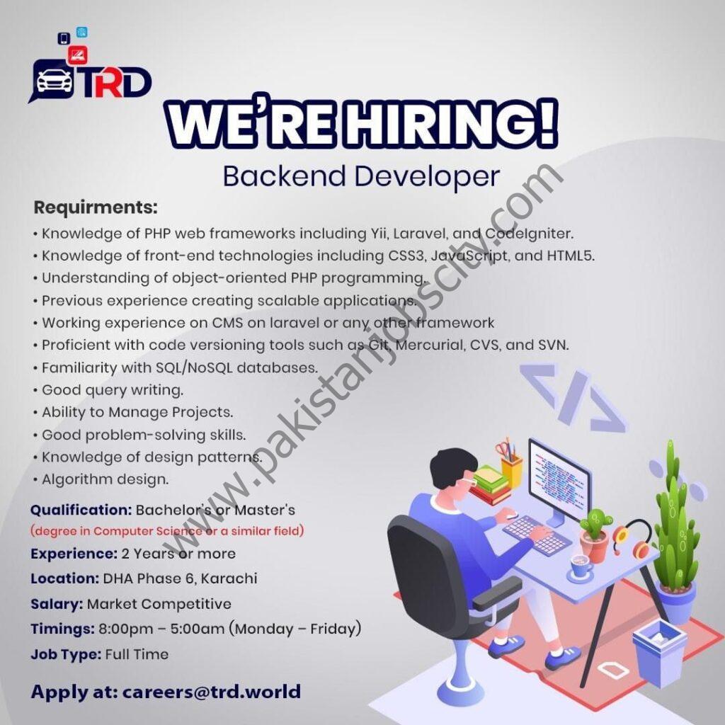 TRD Pvt Ltd Jobs Backend Developer