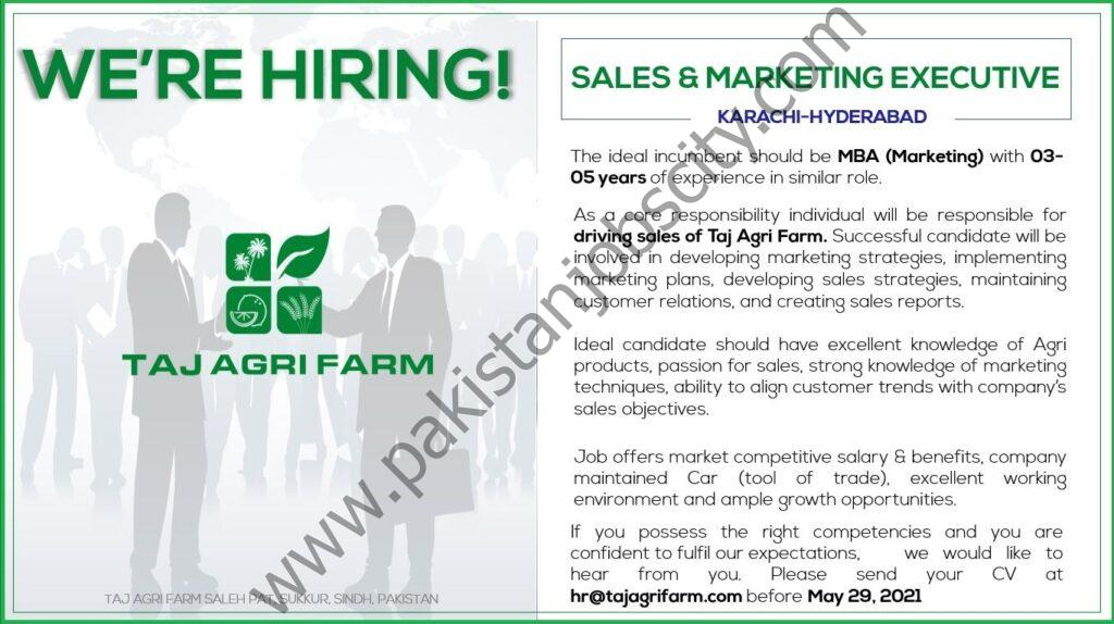 Taj Agri Farm Jobs Sales & Marketing Executive